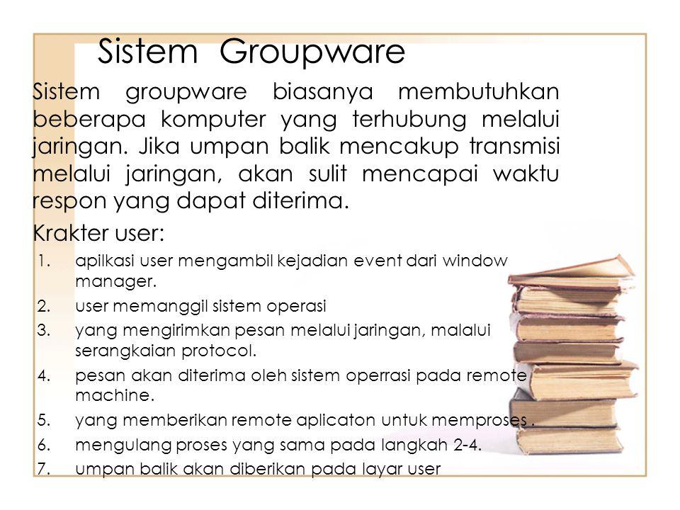 Sistem Groupware Sistem groupware biasanya membutuhkan beberapa komputer yang terhubung melalui jaringan. Jika umpan balik mencakup transmisi melalui