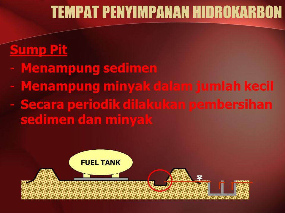 Sump Pit -Menampung sedimen -Menampung minyak dalam jumlah kecil -Secara periodik dilakukan pembersihan sedimen dan minyak FUEL TANK TEMPAT PENYIMPANAN HIDROKARBON