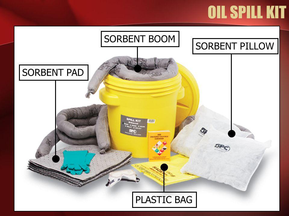 OIL SPILL KIT SORBENT BOOM PLASTIC BAG SORBENT PAD SORBENT PILLOW