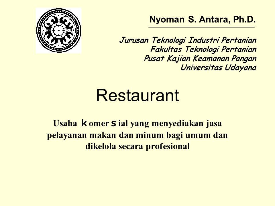 Klasifikasi Restaurant Formal Restaurant Diutamakan pelayanan yang eksklusif Informal Restaurant Mengutamakan kecepatan pelayanan, kepraktisan, dan percepatan frekuensi yang silih berganti pelanggan Specialties Restaurant Menyediakan makanan yang khas (specific) dan diikuti dengan sistem penyajian yang khas dari suatu negara tertentu
