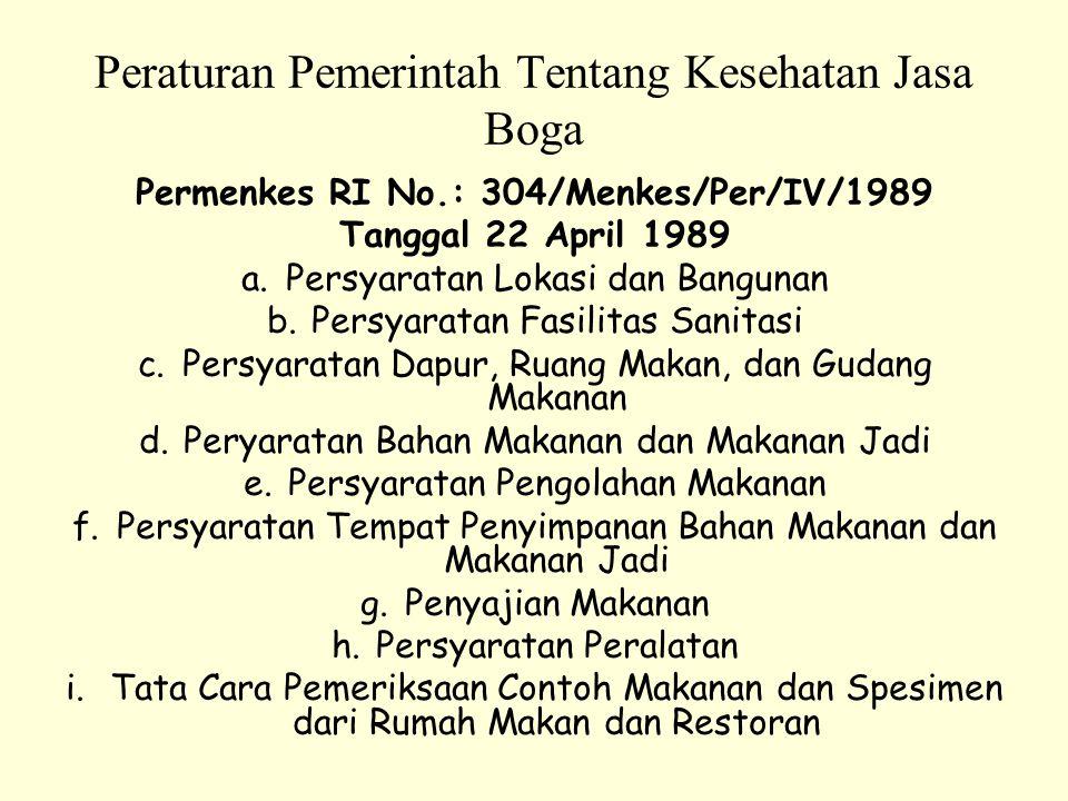 Peraturan Pemerintah Tentang Kesehatan Jasa Boga Permenkes RI No.: 304/Menkes/Per/IV/1989 Tanggal 22 April 1989 a.Persyaratan Lokasi dan Bangunan b.Pe