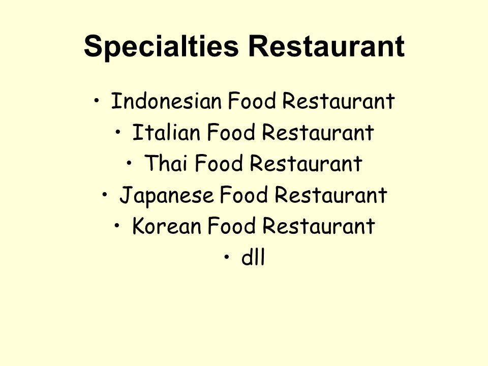 Komponen Utama Restaurant Restaurant Area Kitchen Area Bar Area Steward Area Parking Area Employee Area Store Room Garbage Area Toilet Area Ibadah