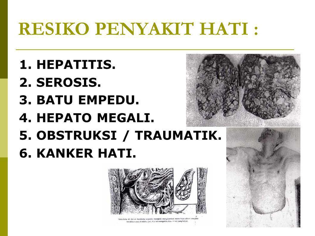 RESIKO PENYAKIT HATI : 1. HEPATITIS. 2. SEROSIS. 3. BATU EMPEDU. 4. HEPATO MEGALI. 5. OBSTRUKSI / TRAUMATIK. 6. KANKER HATI.