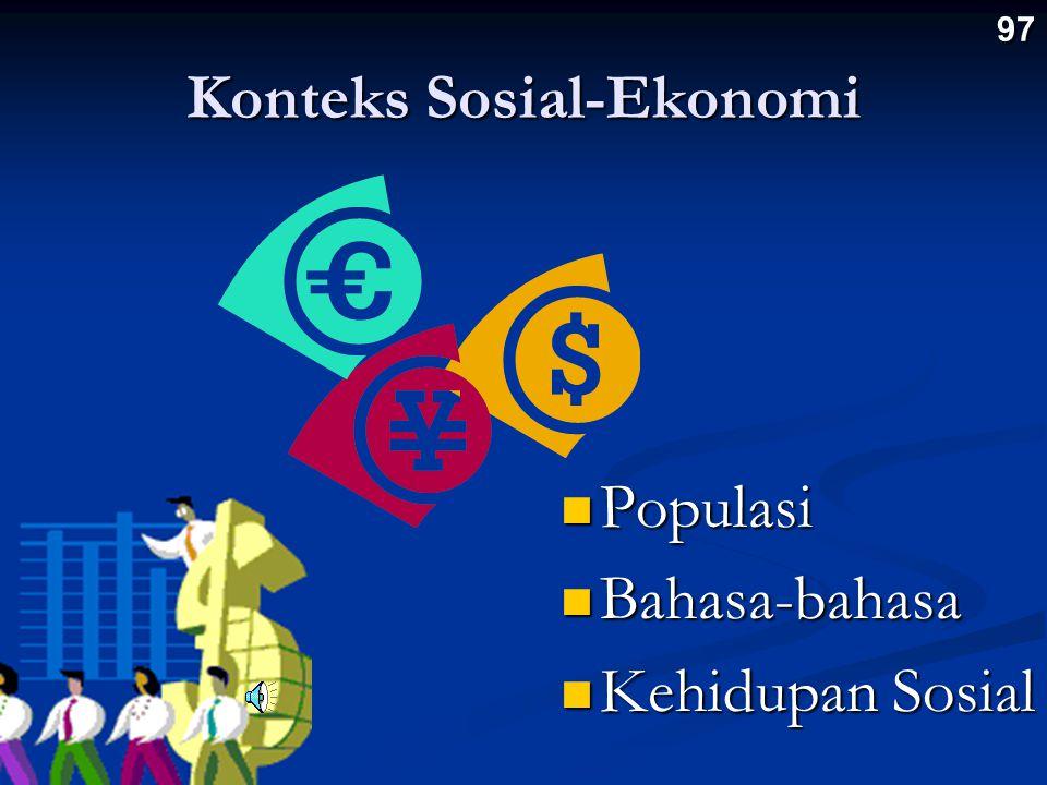 Konteks Sosial-Ekonomi Populasi Populasi Bahasa-bahasa Bahasa-bahasa Kehidupan Sosial Kehidupan Sosial 97