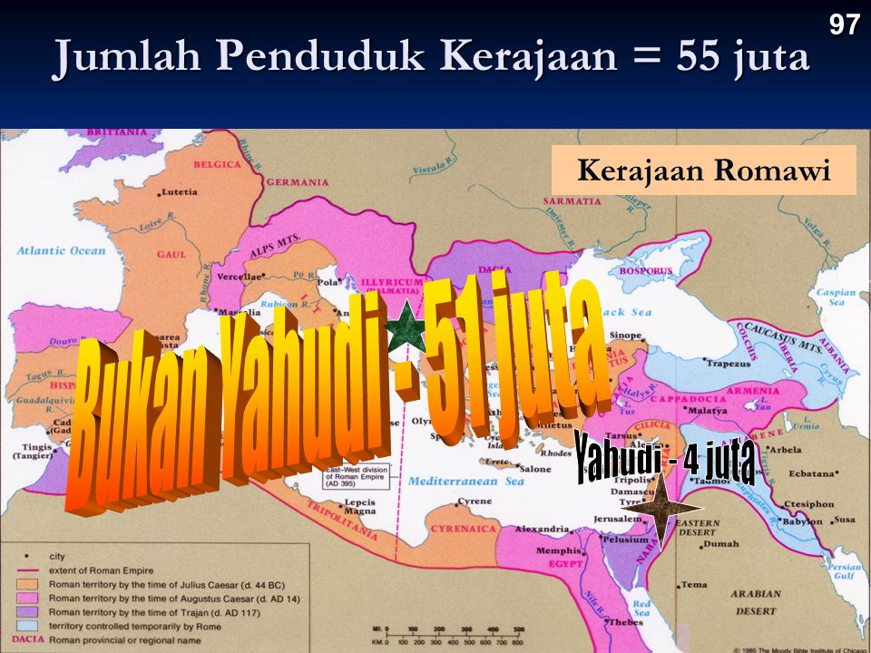 Jumlah Penduduk Kerajaan = 55 juta 97 Kerajaan Romawi