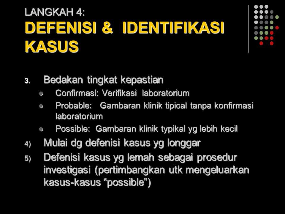 LANGKAH 4: DEFENISI & IDENTIFIKASI KASUS 3. Bedakan tingkat kepastian Confirmasi: Verifikasi laboratorium Confirmasi: Verifikasi laboratorium Probable
