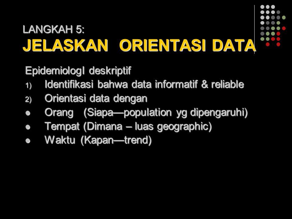 LANGKAH 5: JELASKAN ORIENTASI DATA EpidemiologI deskriptif 1) Identifikasi bahwa data informatif & reliable 2) Orientasi data dengan Orang(Siapa—popul