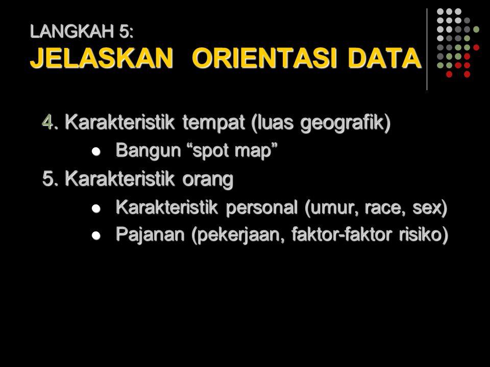 "LANGKAH 5: JELASKAN ORIENTASI DATA 4. Karakteristik tempat (luas geografik) Bangun ""spot map"" Bangun ""spot map"" 5. Karakteristik orang Karakteristik p"