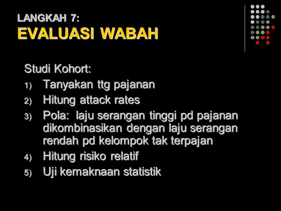 LANGKAH 7: EVALUASI WABAH Studi Kohort: 1) Tanyakan ttg pajanan 2) Hitung attack rates 3) Pola: laju serangan tinggi pd pajanan dikombinasikan dengan