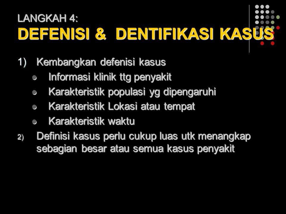 LANGKAH 4: DEFENISI & DENTIFIKASI KASUS 1)Kembangkan defenisi kasus Informasi klinik ttg penyakit Informasi klinik ttg penyakit Karakteristik populasi