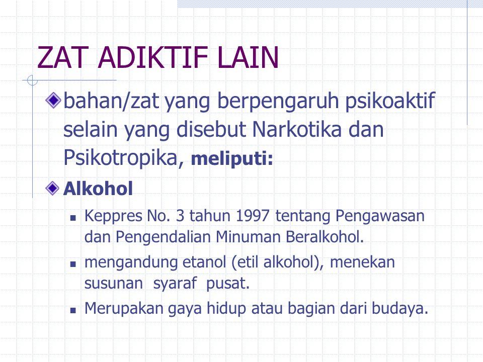 Psikotropika yang sering disalahgunakan Psikostimulansia: amfetamin, ekstasi, shabu Sedatif dan Hipnotika (obat penenang dan obat tidur): Mogadon (MG), BK, Dumolid (DUM), Rohypnol (Rohyp), Lexotan (Lexo), Pil koplo dan lain-lain Halusinogen: Lysergic Acid Diethylamide (LSD), Mushroom