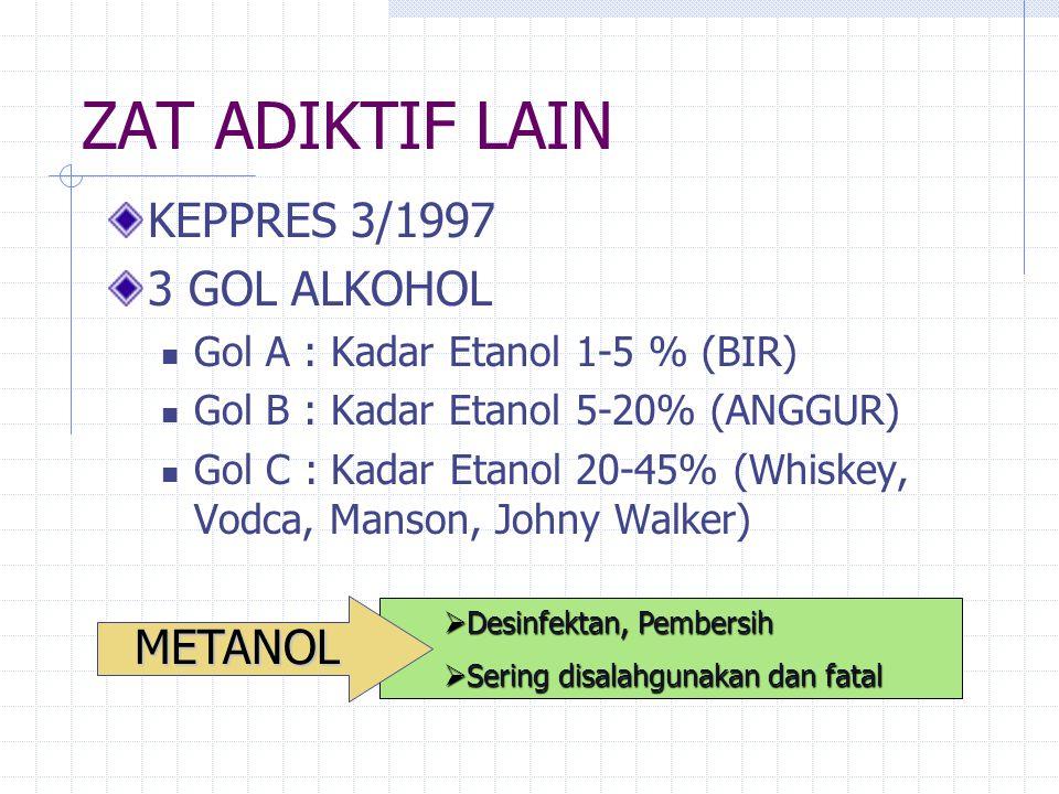ZAT ADIKTIF LAIN bahan/zat yang berpengaruh psikoaktif selain yang disebut Narkotika dan Psikotropika, meliputi: Alkohol Keppres No. 3 tahun 1997 tent