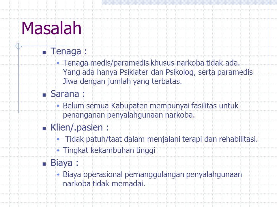 Peningkatan SDM Pelatihan Program P2 Napza bagi Pemegang Program di Kabupaten/Kota. Pelatihan Teknis Medis dalam penanganan Kedaruratan Narkoba. Pelat