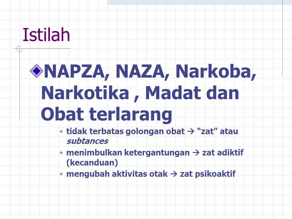 Istilah NAPZA, NAZA, Narkoba, Narkotika, Madat dan Obat terlarang  tidak terbatas golongan obat  zat atau subtances  menimbulkan ketergantungan  zat adiktif (kecanduan)  mengubah aktivitas otak  zat psikoaktif