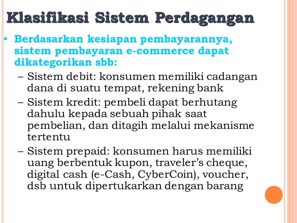 Klasifikasi Sistem Perdagangan Berdasarkan kesiapan pembayarannya, sistem pembayaran e-commerce dapat dikategorikan sbb: –Sistem debit: konsumen memil