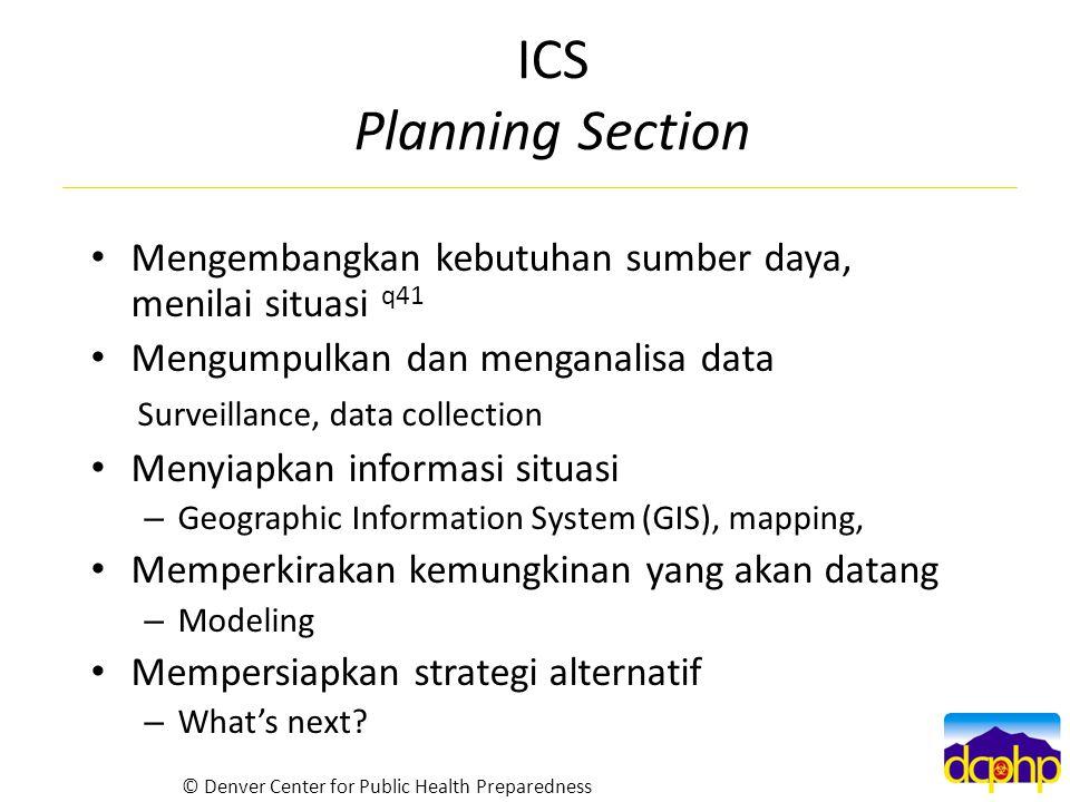 ICS Planning Section Mengembangkan kebutuhan sumber daya, menilai situasi q41 Mengumpulkan dan menganalisa data Surveillance, data collection Menyiapk