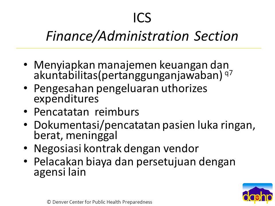 ICS Finance/Administration Section Menyiapkan manajemen keuangan dan akuntabilitas(pertanggunganjawaban) q7 Pengesahan pengeluaran uthorizes expenditu