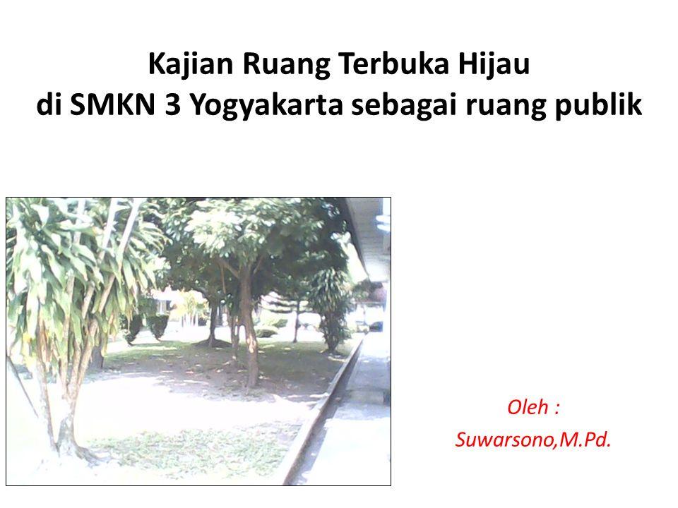 Kajian Ruang Terbuka Hijau di SMKN 3 Yogyakarta sebagai ruang publik Oleh : Suwarsono,M.Pd.