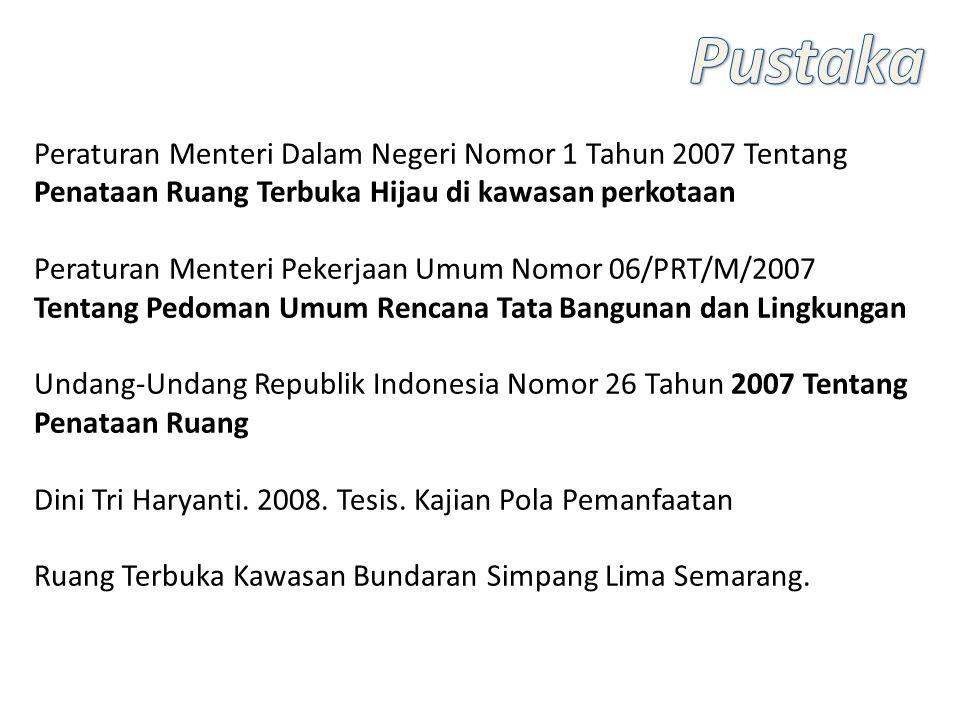 Peraturan Menteri Dalam Negeri Nomor 1 Tahun 2007 Tentang Penataan Ruang Terbuka Hijau di kawasan perkotaan Peraturan Menteri Pekerjaan Umum Nomor 06/