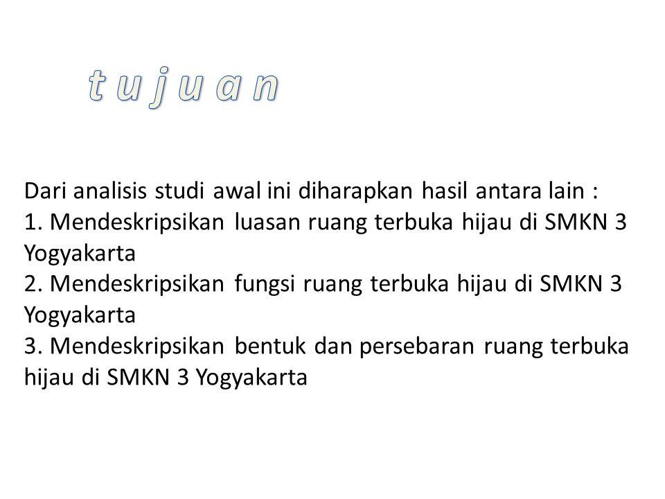 Dari analisis studi awal ini diharapkan hasil antara lain : 1. Mendeskripsikan luasan ruang terbuka hijau di SMKN 3 Yogyakarta 2. Mendeskripsikan fung