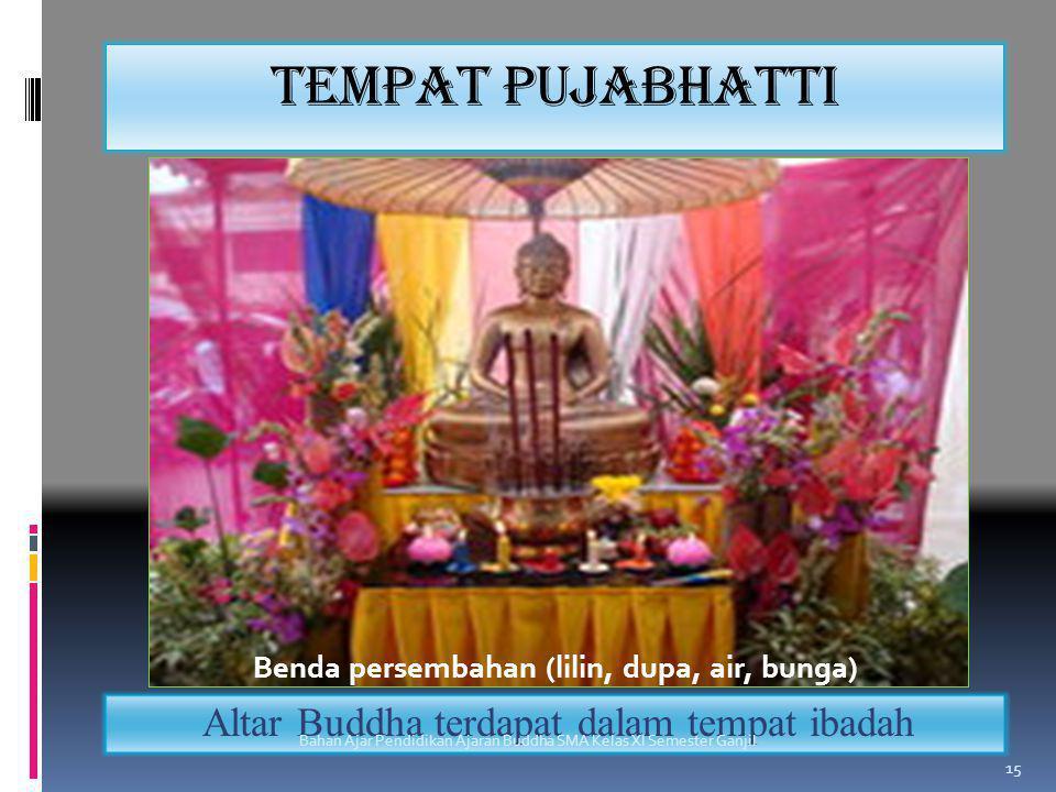 Tempat pujabhatti Altar Buddha terdapat dalam tempat ibadah Bahan Ajar Pendidikan Ajaran Buddha SMA Kelas XI Semester Ganjil 15 Benda persembahan (lil