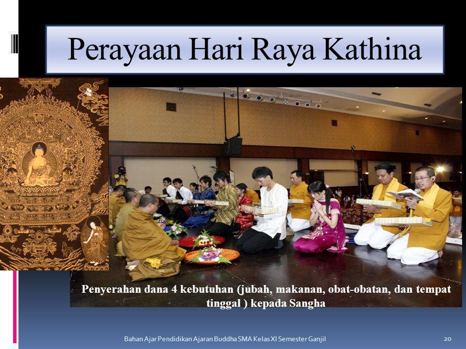 Perayaan Hari Raya Kathina Bahan Ajar Pendidikan Ajaran Buddha SMA Kelas XI Semester Ganjil 20 Penyerahan dana 4 kebutuhan (jubah, makanan, obat-obata