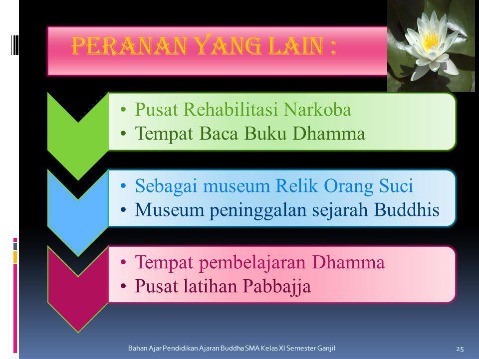 Peranan yang lain : Pusat Rehabilitasi Narkoba Tempat Baca Buku Dhamma Sebagai museum Relik Orang Suci Museum peninggalan sejarah Buddhis Tempat pembe