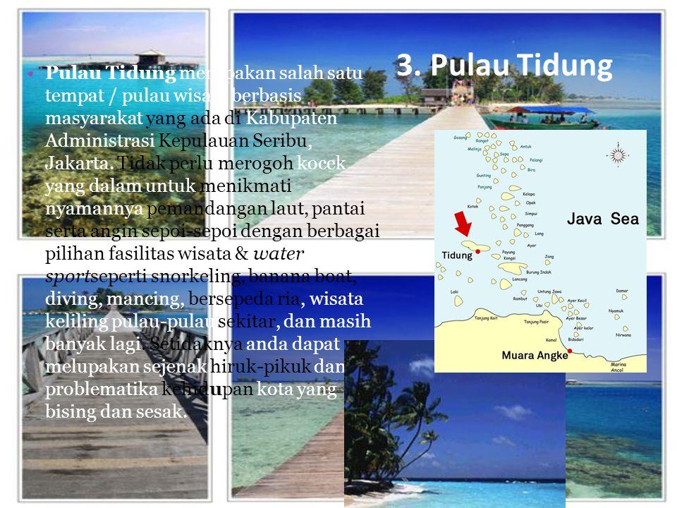 3. Pulau Tidung Pulau Tidung merupakan salah satu tempat / pulau wisata berbasis masyarakat yang ada di Kabupaten Administrasi Kepulauan Seribu, Jakar