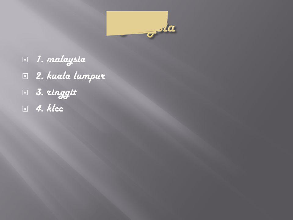  1. malaysia  2. kuala lumpur  3. ringgit  4. klcc