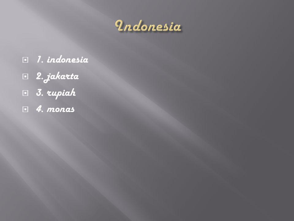  1. indonesia  2. jakarta  3. rupiah  4. monas