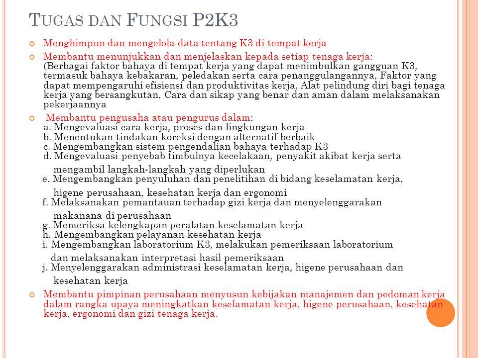 T UGAS DAN F UNGSI P2K3 Menghimpun dan mengelola data tentang K3 di tempat kerja Membantu menunjukkan dan menjelaskan kepada setiap tenaga kerja: (Ber