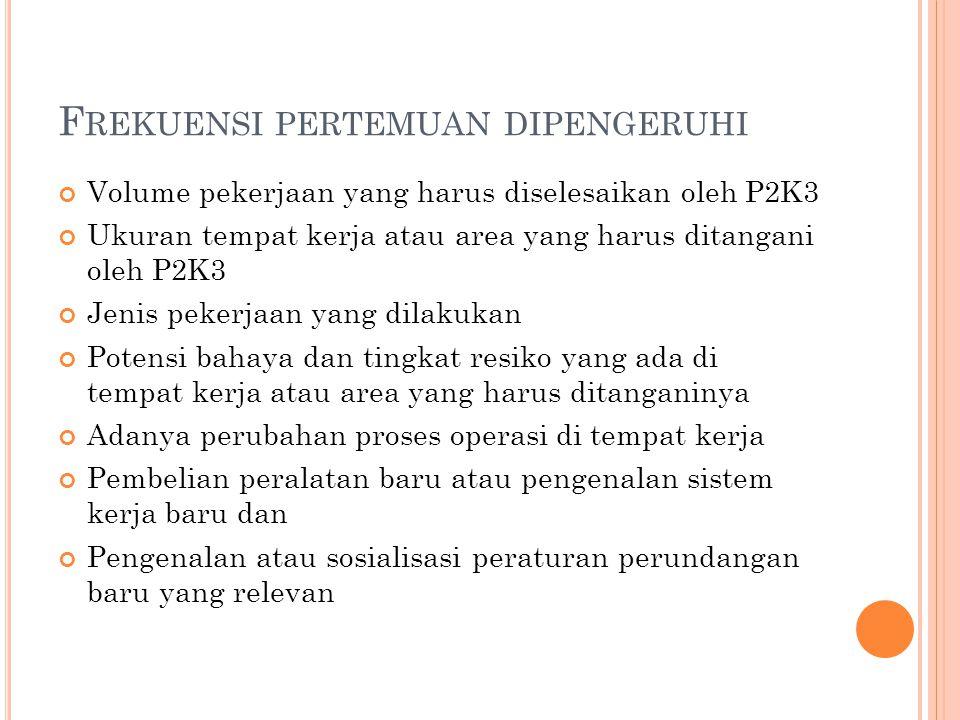 F REKUENSI PERTEMUAN DIPENGERUHI Volume pekerjaan yang harus diselesaikan oleh P2K3 Ukuran tempat kerja atau area yang harus ditangani oleh P2K3 Jenis