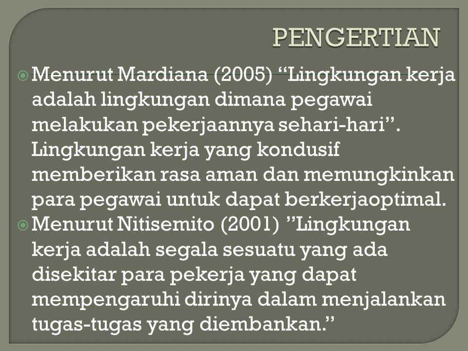" Menurut Mardiana (2005) ""Lingkungan kerja adalah lingkungan dimana pegawai melakukan pekerjaannya sehari-hari"". Lingkungan kerja yang kondusif membe"