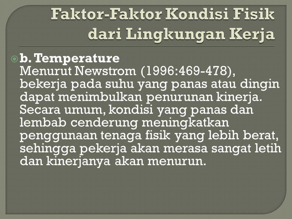  b. Temperature Menurut Newstrom (1996:469-478), bekerja pada suhu yang panas atau dingin dapat menimbulkan penurunan kinerja. Secara umum, kondisi y