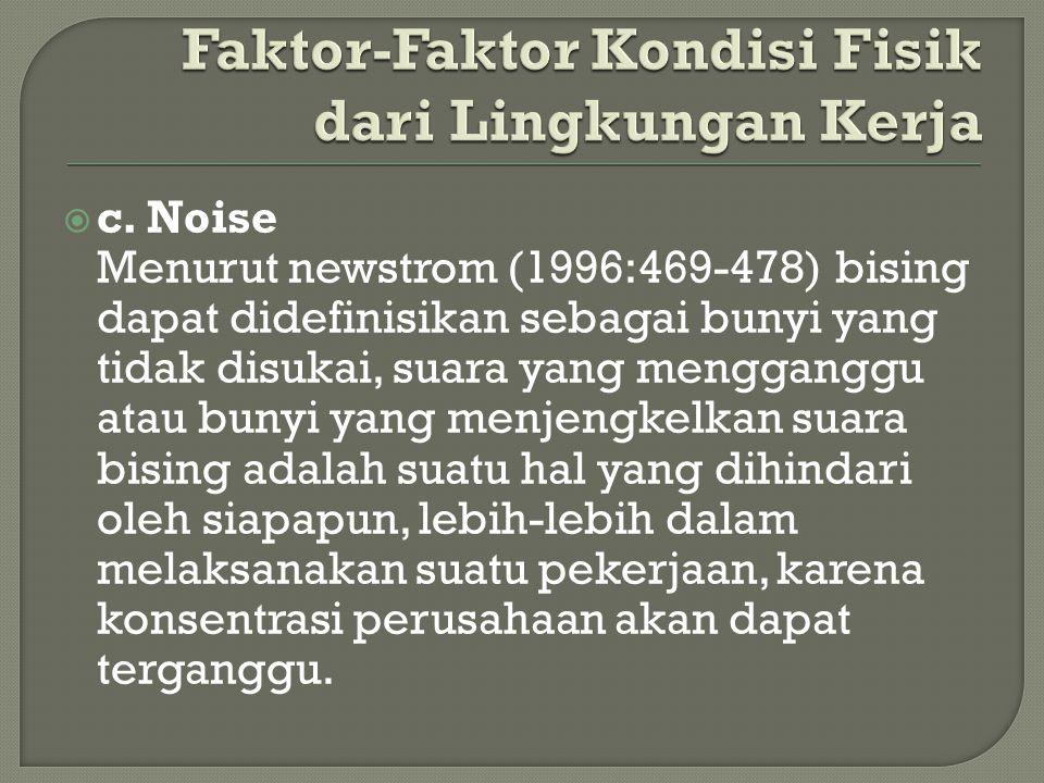  c. Noise Menurut newstrom (1996:469-478) bising dapat didefinisikan sebagai bunyi yang tidak disukai, suara yang mengganggu atau bunyi yang menjengk