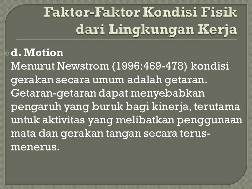  d. Motion Menurut Newstrom (1996:469-478) kondisi gerakan secara umum adalah getaran. Getaran-getaran dapat menyebabkan pengaruh yang buruk bagi kin