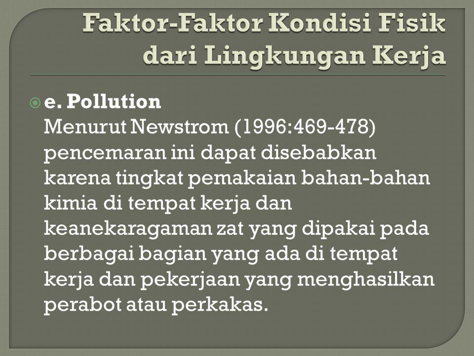  e. Pollution Menurut Newstrom (1996:469-478) pencemaran ini dapat disebabkan karena tingkat pemakaian bahan-bahan kimia di tempat kerja dan keanekar