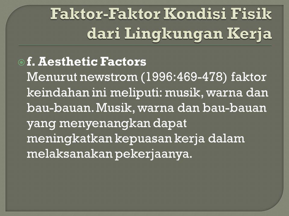  f. Aesthetic Factors Menurut newstrom (1996:469-478) faktor keindahan ini meliputi: musik, warna dan bau-bauan. Musik, warna dan bau-bauan yang meny