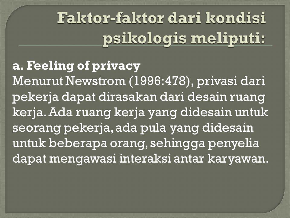 a. Feeling of privacy Menurut Newstrom (1996:478), privasi dari pekerja dapat dirasakan dari desain ruang kerja. Ada ruang kerja yang didesain untuk s