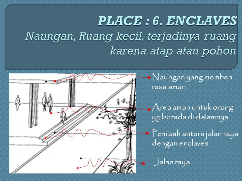 Naungan yang memberi rasa aman Area aman untuk orang yg berada di dalamnya Pemisah antara jalan raya dengan enclaves Jalan raya