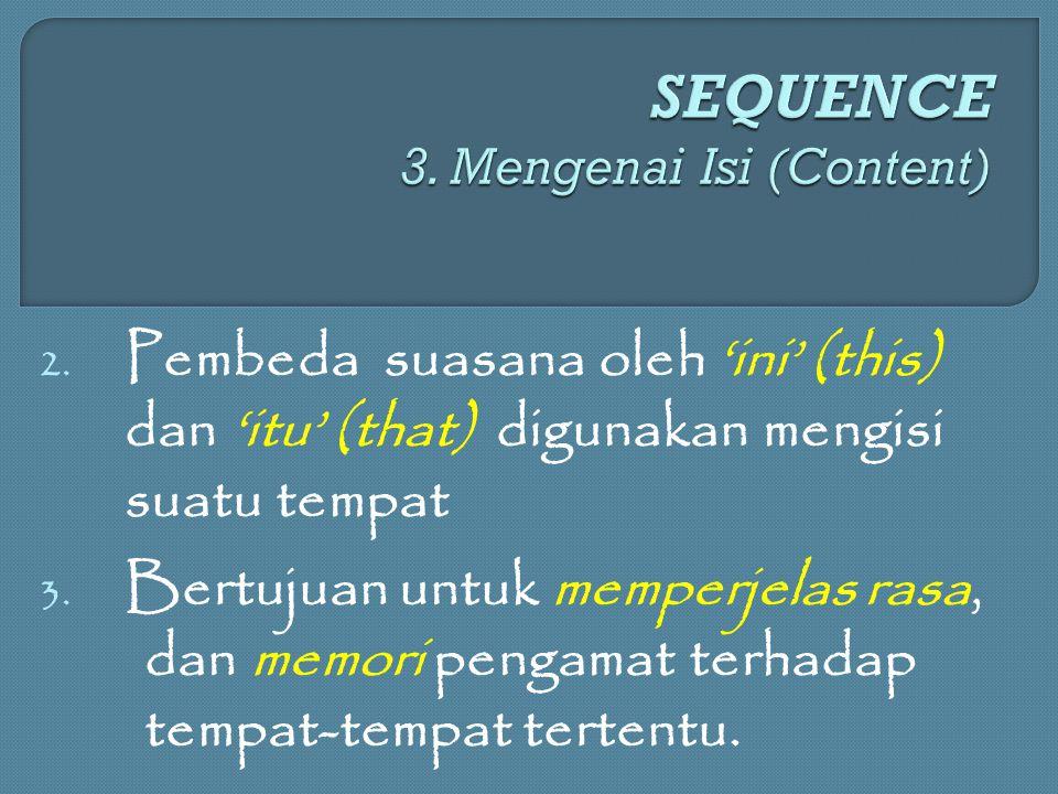 2. Pembeda suasana oleh 'ini' (this) dan 'itu' (that) digunakan mengisi suatu tempat 3. Bertujuan untuk memperjelas rasa, dan memori pengamat terhadap