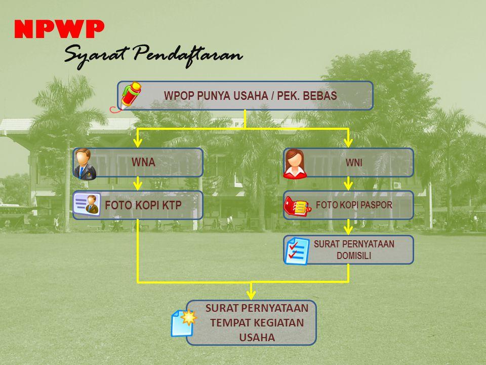 NPWP Syarat Pendaftaran WPOP PUNYA USAHA / PEK.