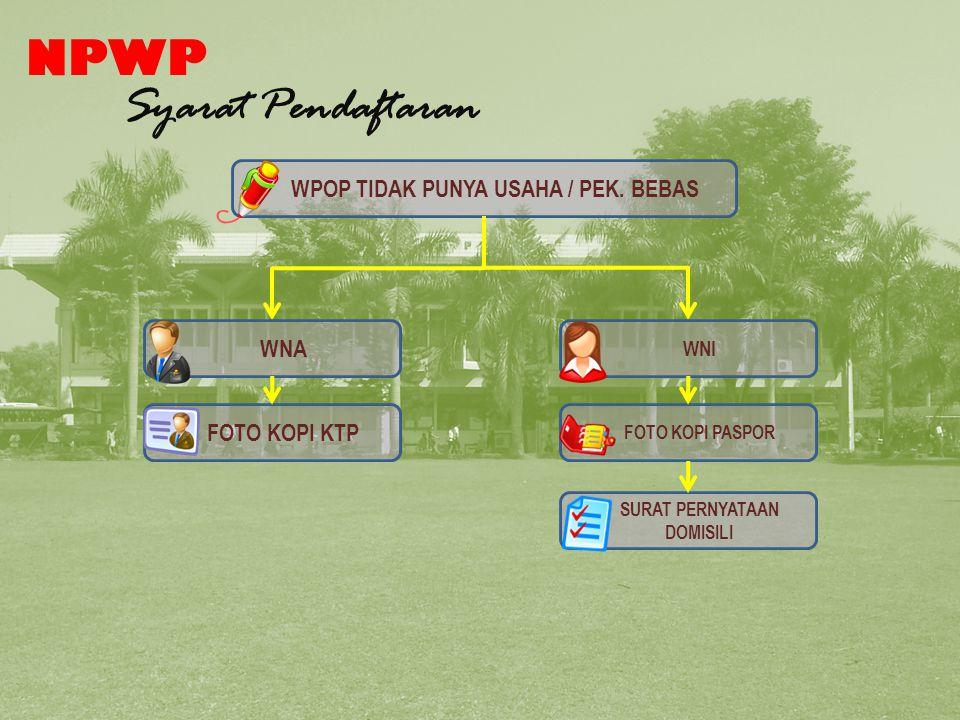 NPWP Syarat Pendaftaran WPOP TIDAK PUNYA USAHA / PEK.