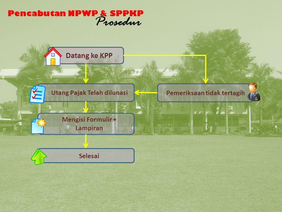 Pencabutan NPWP & SPPKP Prosedur Datang ke KPP Utang Pajak Telah dilunasi Mengisi Formulir + Lampiran Selesai Pemeriksaan tidak tertagih Pencabutan NPWP dan SPPKP