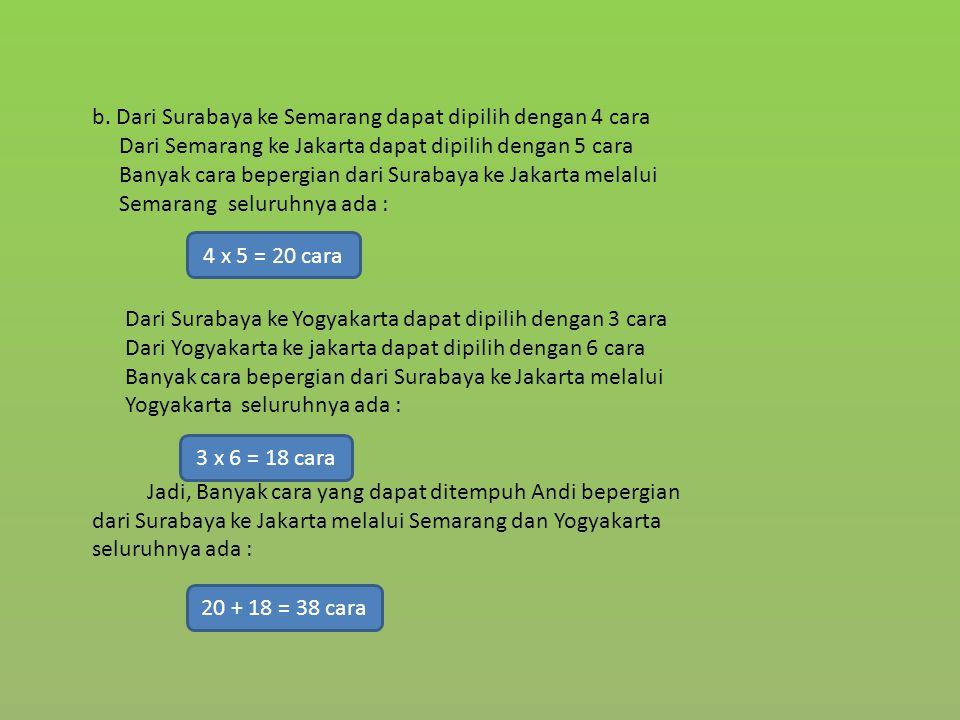 b. Dari Surabaya ke Semarang dapat dipilih dengan 4 cara Dari Semarang ke Jakarta dapat dipilih dengan 5 cara Banyak cara bepergian dari Surabaya ke J