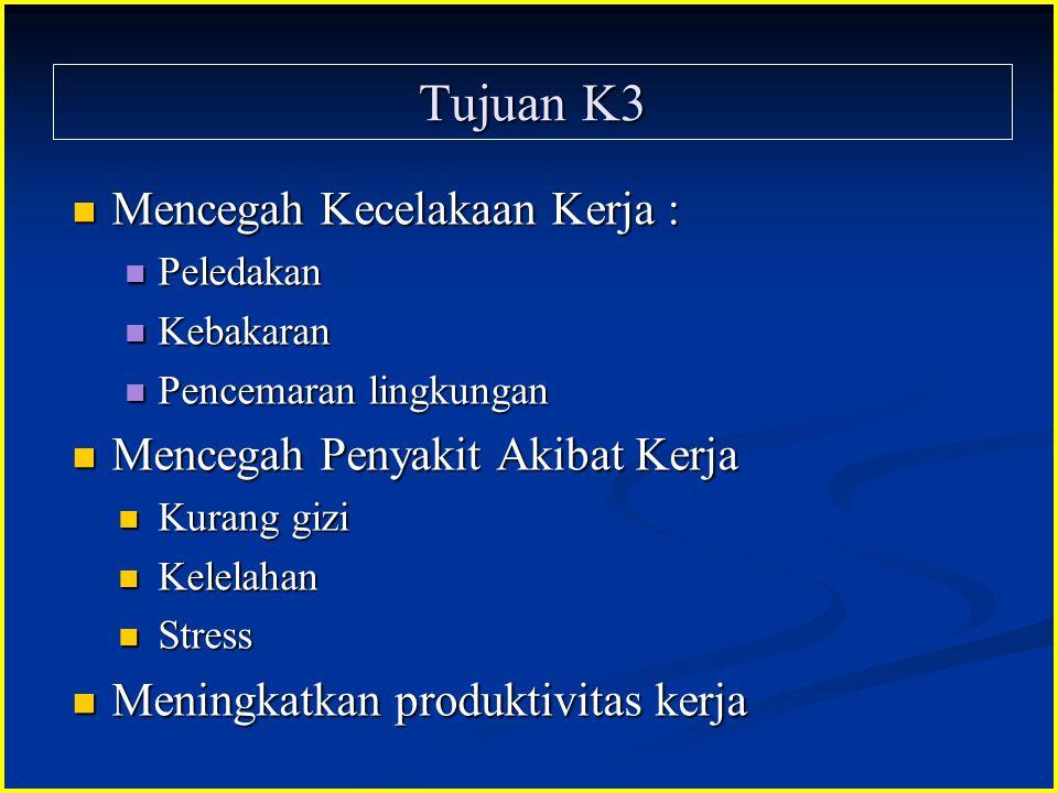 Tujuan K3 Mencegah Kecelakaan Kerja : Mencegah Kecelakaan Kerja : Peledakan Peledakan Kebakaran Kebakaran Pencemaran lingkungan Pencemaran lingkungan