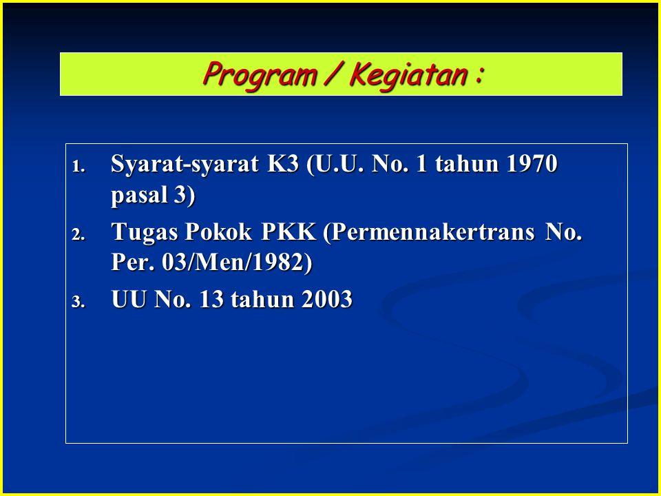 Program / Kegiatan : 1. Syarat-syarat K3 (U.U. No. 1 tahun 1970 pasal 3) 2. Tugas Pokok PKK (Permennakertrans No. Per. 03/Men/1982) 3. UU No. 13 tahun