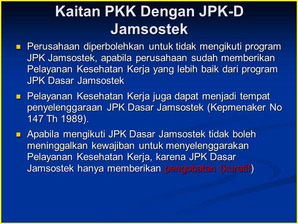 Kaitan PKK Dengan JPK-D Jamsostek Perusahaan diperbolehkan untuk tidak mengikuti program JPK Jamsostek, apabila perusahaan sudah memberikan Pelayanan