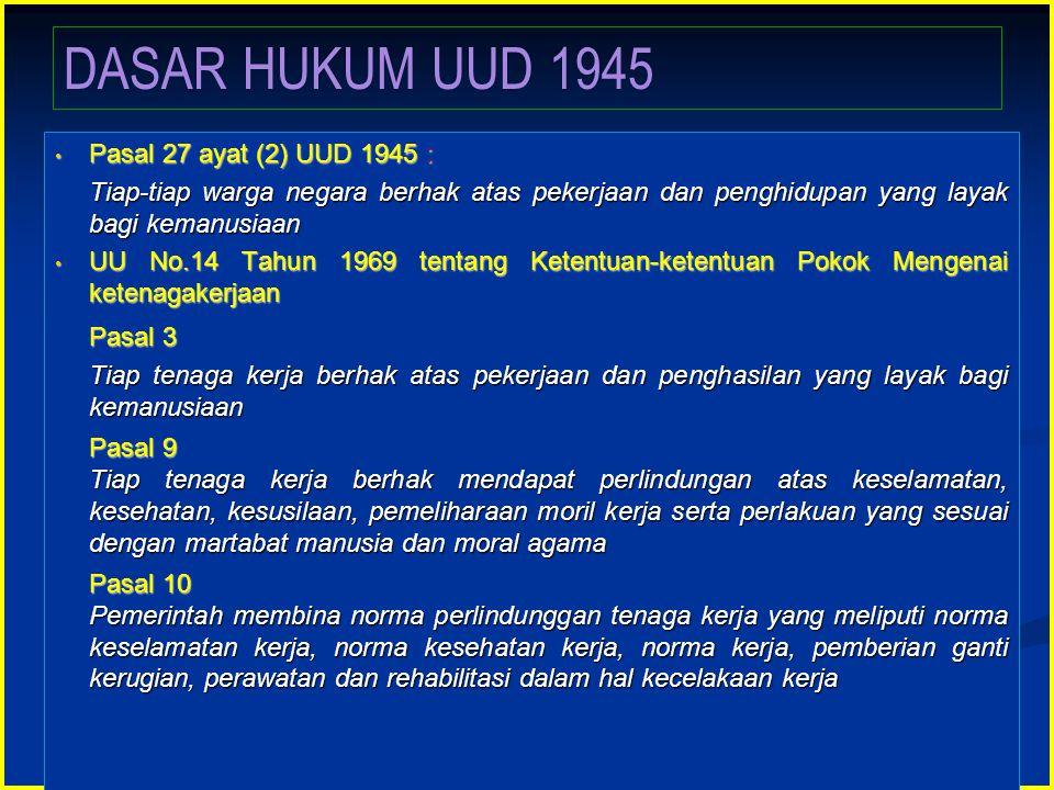 Pasal 27 ayat (2) UUD 1945 : Pasal 27 ayat (2) UUD 1945 : Tiap-tiap warga negara berhak atas pekerjaan dan penghidupan yang layak bagi kemanusiaan Tia