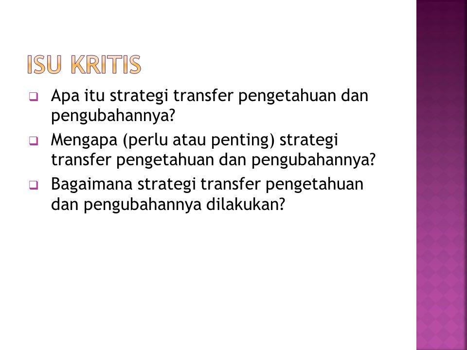  Apa itu strategi transfer pengetahuan dan pengubahannya.